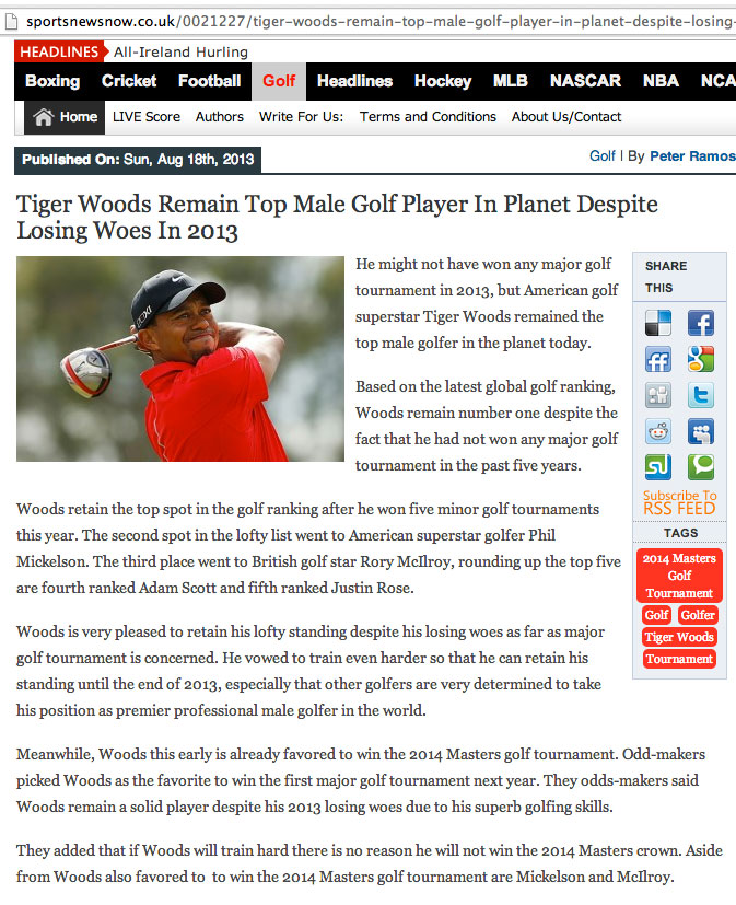 Tiger Woods top golfer in planet...