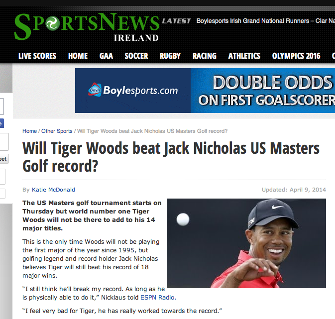 "No, Tiger will not break the major record of Jack ""Nicholas"""