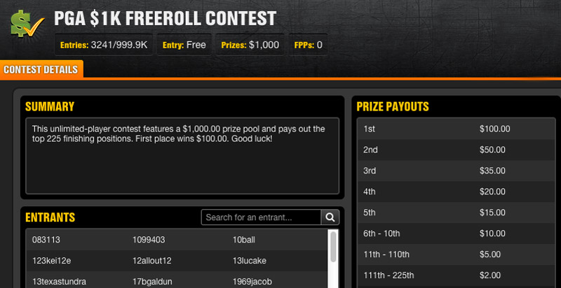 Click image to enter this free fantasy golf contest.  You'll have to beat me.