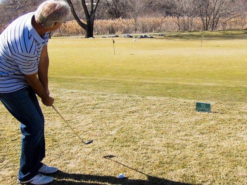 Use No-Chipping Sign as Target When Practicing Chipping