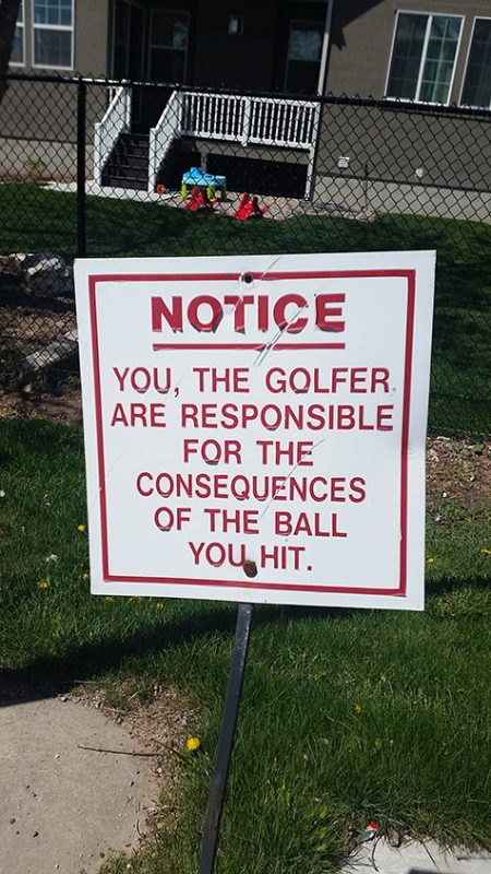 Consequences Golf Sign