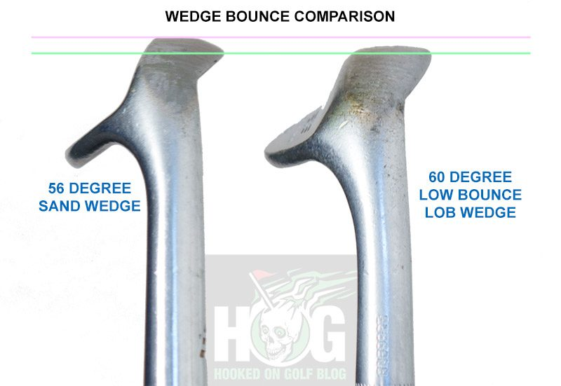 Left: 56 degree sand wedge with 10 degrees bounce | Right: 60 degree lob wedge with 4 degrees bounce