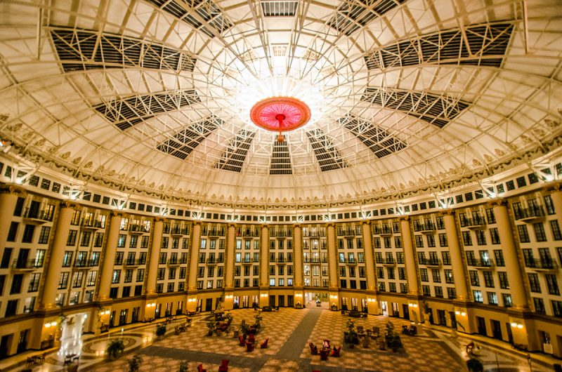 View from a balcony room into the dome at the West Baden Springs Hotel