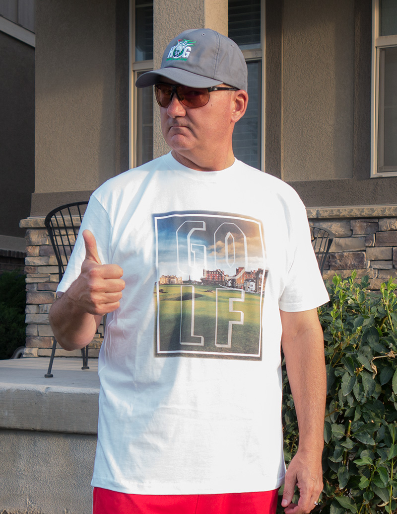 """I needed a tee shirt that says """"golf"""" with the Old Course in St Andrews in the background!"""