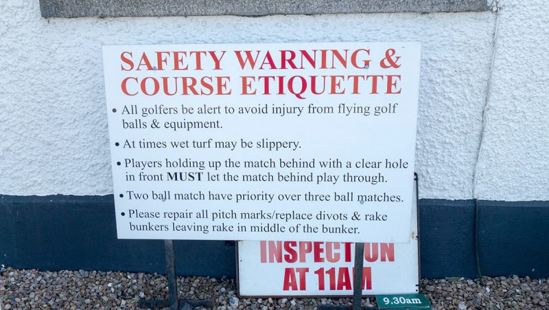 Golf Safety Warning