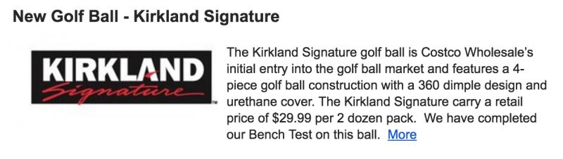 Costco Kirkland Golf Balls