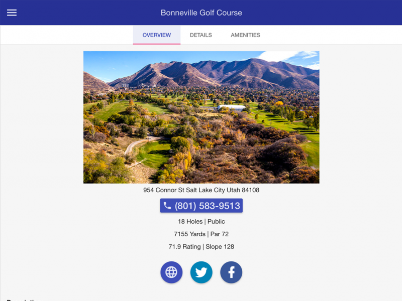 Utah Golf Courses mobile app